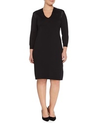 Marina Rinaldi Ginger Knit Dress W Leatherette Yoke Women's