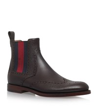 Gucci Scotch Web Chelsea Boots Male Brown