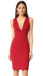 Alice Olivia Esmira Fitted V Neck Dress Bordeaux
