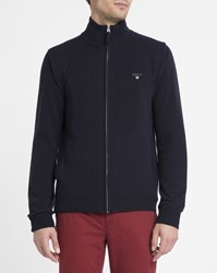 Gant Navy Zipped Lambswool Cardigan Blue