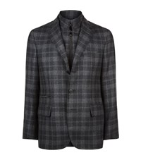 Corneliani Check Blazer Gilet Male Dark Grey