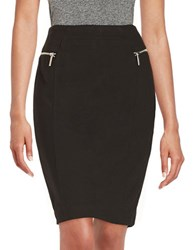 Michael Michael Kors Petite Zipper Accented Pencil Skirt Black