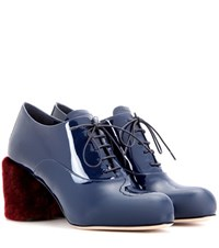 Miu Miu Patent Leather Fur Trimmed Pumps Blue