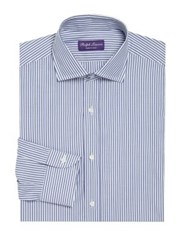 Ralph Lauren Purple Label Striped Regular Fit Dress Shirt Blue White