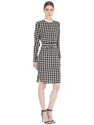 Salvatore Ferragamo Houndstooth Printed Silk Dress