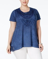 Styleandco. Style And Co. Plus Size Lace Burnout Blouse Only At Macy's Av Blue Wash