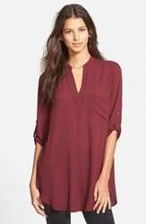 Junior Women's Lush 'Perfect' Roll Tab Sleeve Tunic Tawny Port
