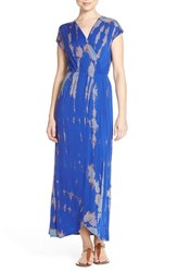 Fraiche By J Women's Tie Dye Faux Wrap Maxi Dress Royal Blue