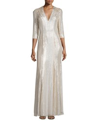 Jenny Packham Long Sleeve V Neck Sequin Gown Lunar Women's