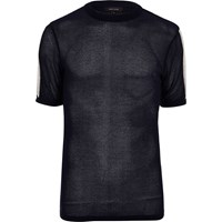 River Island Mens Navy Mesh Cotton T Shirt
