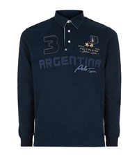 La Martina Long Sleeve Jersey Logo Polo Shirt Male Navy