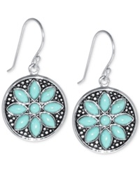 Macy's Manufactured Turquoise Flower Earrings 5 X 2 1 2Mm In Sterling Silver