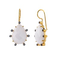 Alanna Bess Jewelry Florentine Earrings White Agate