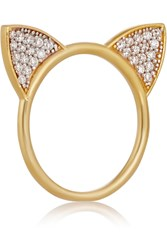 Aamaya By Priyanka Cat Gold Plated Sterling Silver Topaz Ring