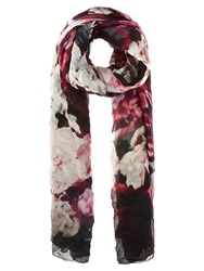 Karen Millen Placed Rose Print Scarf Red Multi