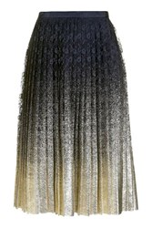 Topshop Pleated Foil Lace Skirt Navy Blue