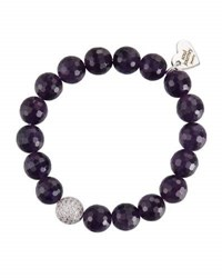 Soul Journey Amethyst Beaded Stretch Bracelet Purple