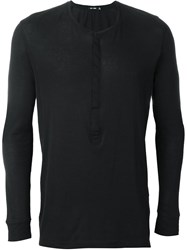 Blk Dnm Long Sleeve Henley Top Black