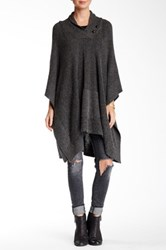 Love Stitch Shawl Collar Button Poncho Gray