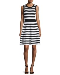 Milly Striped Pointelle A Line Dress Black White