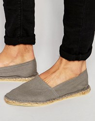 Asos Espadrilles In Grey Canvas Grey