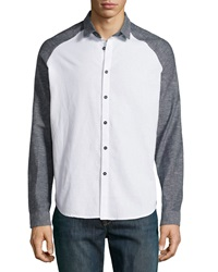 Howe Bryson Colorblock Long Sleeve Shirt White