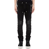 Balmain Women's Leather And French Terry Moto Sweatpants Black Blue Black Blue