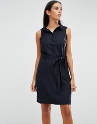 Ax Paris Sleeveless Shirt Dress With Drawstring Waist Navy