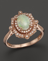 Bloomingdale's Opal And Diamond Antique Inspired Ring In 14K Rose Gold Pink