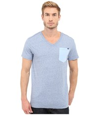 G Star Riban Short Sleeve V Neck Pocket Tee In Premium Compact Jersey Sea Heather Men's Short Sleeve Pullover Blue