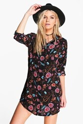 Boohoo Long Sleeve Floral Print Shirt Dress Black