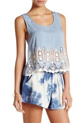En Creme Embroidered Lace Tank Blouse Blue