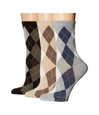 Ecco Socks Argyle Crew Socks Gray Brown Khaki Women's Crew Cut Socks Shoes Multi