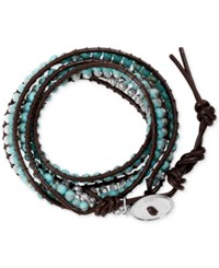 Lucky Brand Bead And Cord Wrap Bracelet Blue