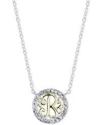 Unwritten Initial 'B' Pendant Necklace With Crystal Pave Circle In Sterling Silver And Gold Flash Two Tone
