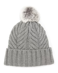 Neiman Marcus Cable Knit Fur Pompom Beanie Lt.Grey Gh
