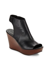 Kenneth Cole Reaction Sole Chic Leather Slingback Wedge Sandals Black