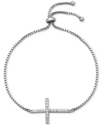 Giani Bernini Cubic Zirconia Cross Adjustable Bracelet In 18K Gold Plated Sterling Silver Or Sterling Silver Only At Macy's