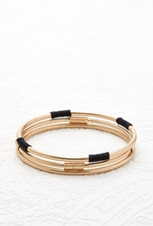 Forever 21 Cord And Wire Wrapped Bangle Set Gold Black