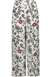 Theory Raoka Printed Silk Chiffon Wide Leg Pants Off White
