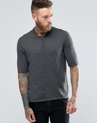 Asos Polo Neck Short Sleeve Cardigan In Merino Wool Mix Charcoal Grey