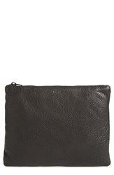 Baggu Medium Leather Zip Pouch Black