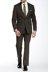 Kenneth Cole Reaction Woven Brown Two Button Notch Lapel Suit
