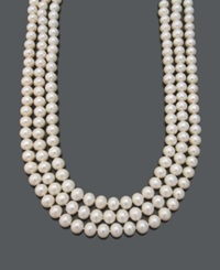 Belle De Mer Pearl Necklace 14K Gold Cultured Freshwater Pearl Three Row Strand 9 10Mm
