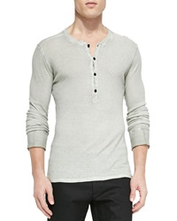 Belstaff Fielder Long Sleeve Henley Shirt Light Gray