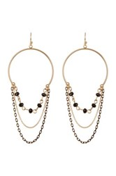 14Th And Union Beaded Chain Hoop Earrings Black