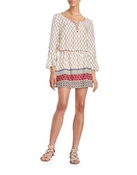 Sanctuary Printed Peasant Dress White Multi