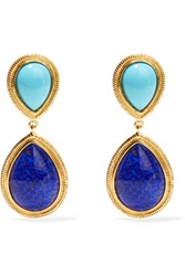 Ben Amun Gold Tone Enamel Earrings Blue