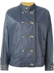 Versace Vintage Double Breasted Leather Jacket Blue