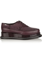 Jil Sander Snake Effect Leather Platform Brogues Red